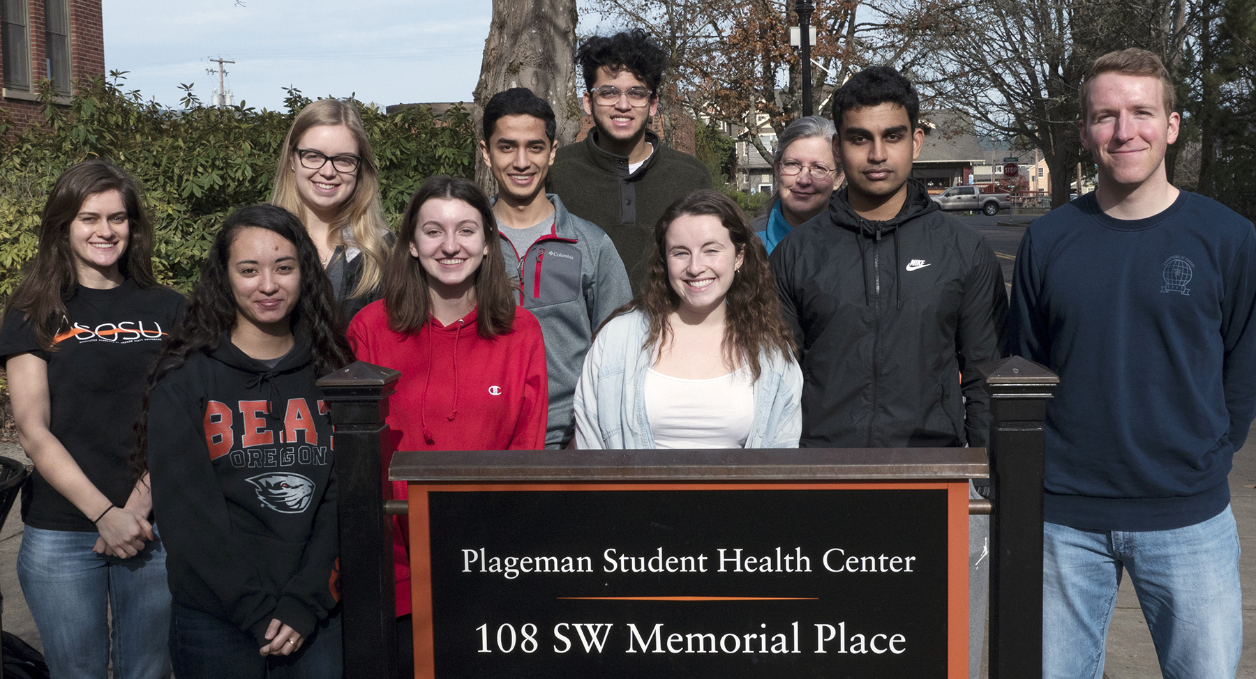 StudentImage of a group of Student Health Advisory Board members standing outside Plageman Building