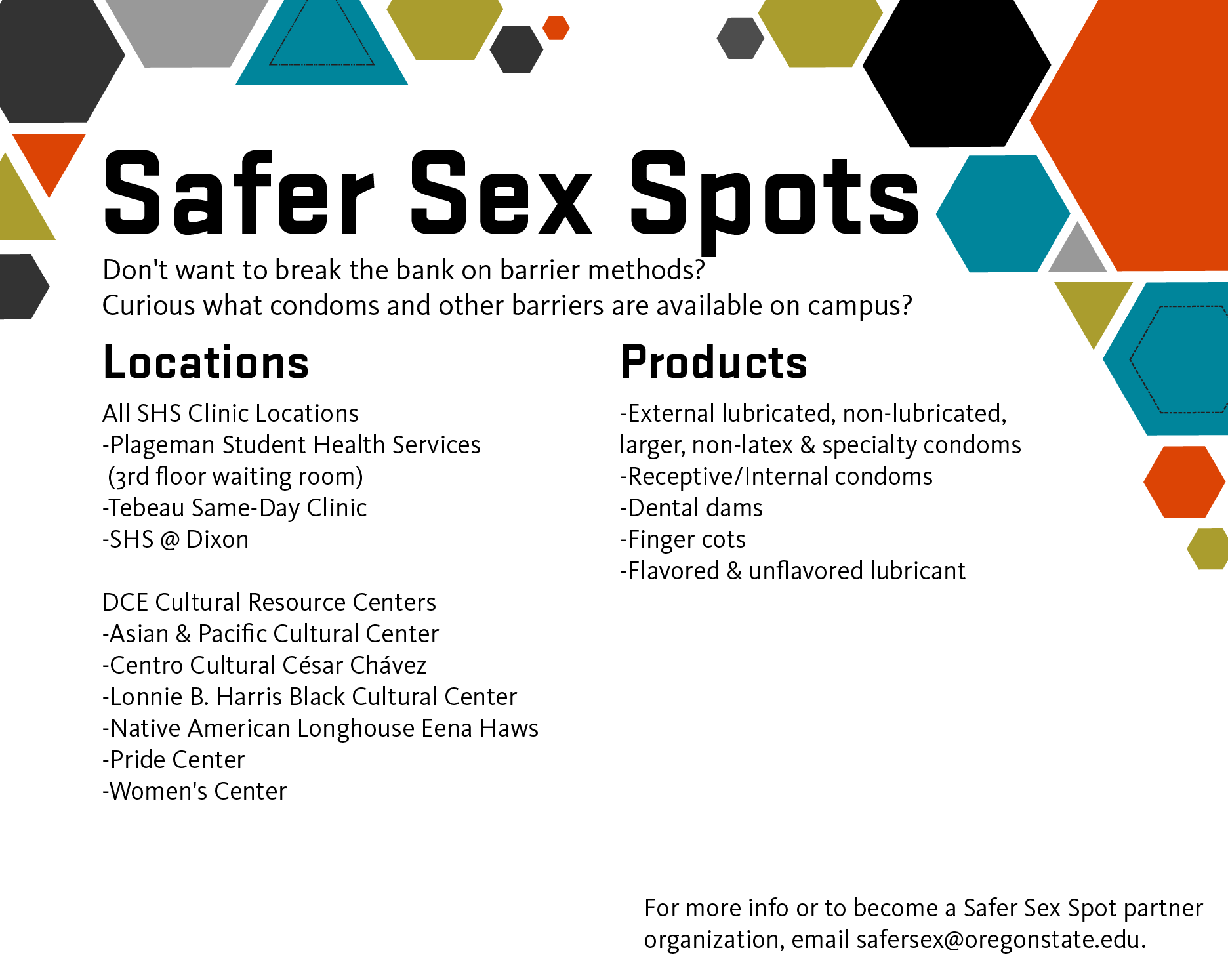 Look for safer sex spots on campus!