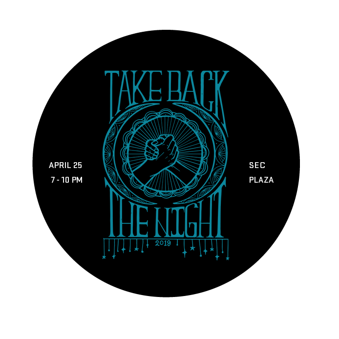 Image of teal Take Back the Night artwork and April 25, 7-10 pm, SEC Plaza